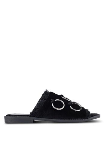 Something Borrowed black Grommet Slide Sandals BC837SH071AE9BGS_1