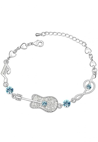 LOVENGIFTS blue and silver LOVENGIFTS Glitter Guitar Bracelet (Blue) LO429AC54PANMY_1