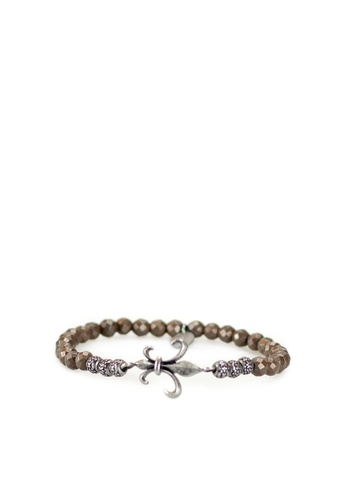 Gnome and Bow grey and brown and green Fluer-de-lis Bracelet F46AFAC4113B19GS_1