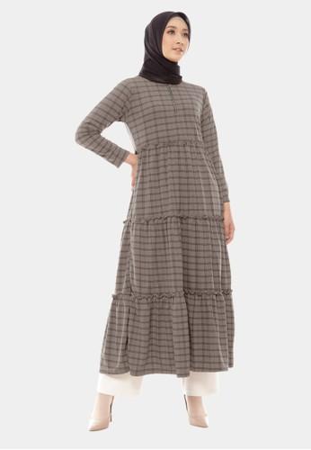 COTTON BEE grey Long Dress Qyara Tartan Baju Gamis Jumbo Dewasa - Thunder Grey 35226AAAB2F812GS_1