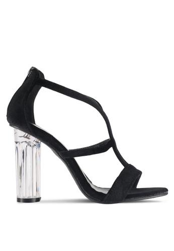 DMK black Glass Sandal Heels 580B4SHA0A35DEGS_1
