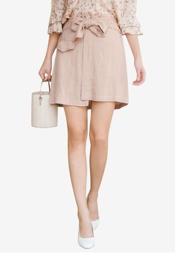 Tokichoi beige Tie Mini Skirt 72373AADE5C815GS_1