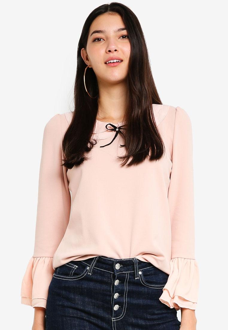 Blouse Yoco Ruffle Ruffle Blouse Sleeve Yoco Sleeve Pink wq851