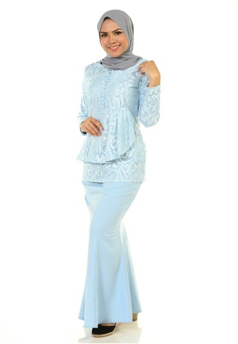 Buy Rosa Kurung With Layered Pleated from Ashura in Blue only 179.9