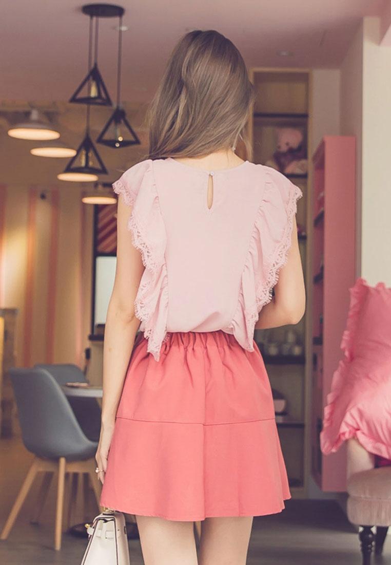 Sleeveless Pink Eyelash Lace Yoco Ruffle Top qtPf7FSw