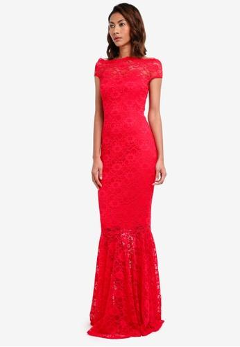 Goddiva red Bardot Lace Maxi Dress 36BB5AA12F6565GS_1