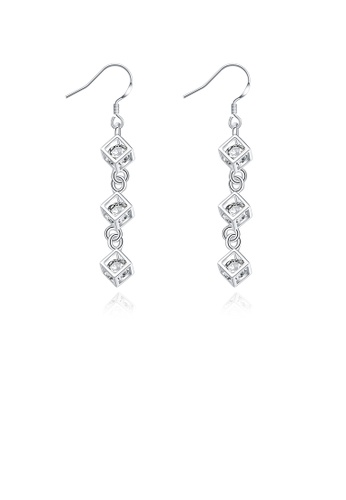 Glamorousky white Simple Square Earrings with Austrian Element Crystal 25726AC7A87EBCGS_1