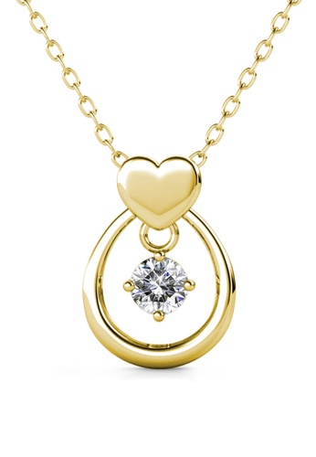 Her Jewellery gold Love Drop Pendant (Yellow Gold) - Made with premium grade crystals from Austria 9FFD3AC7CEE824GS_1