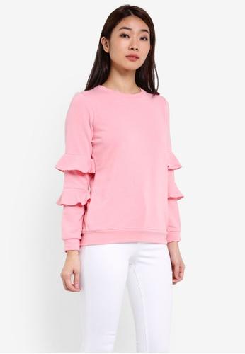 Dorothy Perkins pink Petite Pink Ruffle Sleeve DO816AA0RSOCMY_1