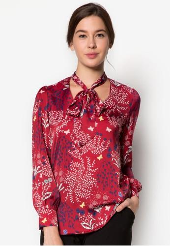 繫帶領花色長zalora時尚購物網的koumi koumi袖上衣, 服飾, 服飾