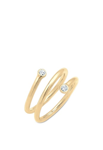 044b3227145c8 Ring Twisted Geo Swarovski® Crystal 925 Sterling Silver Gold Plated
