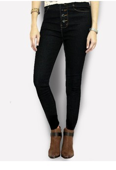 JJ Women's High Waist Denim Pants Black