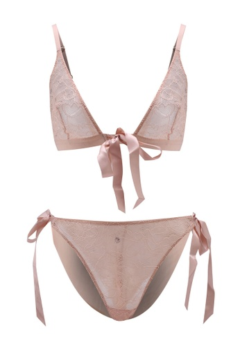Bluebella pink Tabitha Tie-Front Bra And Tie-Side Brief 5334CUS7F15256GS_1