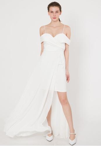 BEBEBUTTERFLY white BebeButterfly Off Shoulder Chiffon Maxi Elegant Long Dinner Dress A057CAA43D96B9GS_1