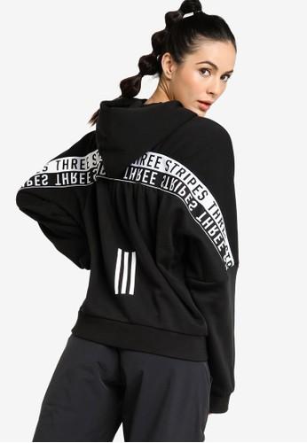 ADIDAS black w three stripees wording sweat fullzip hoodie EDAF9AA074446CGS_1