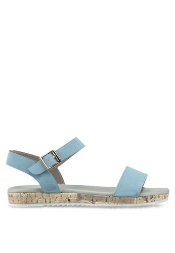 Bata 藍色 一字帶軟木涼鞋 200F5SHFDF4CBBGS_1