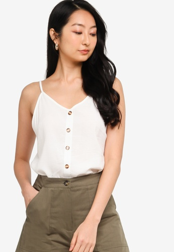 ZALORA BASICS white Basic Button Down Cami Top 29D26AA0DFEF74GS_1