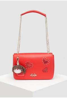 93fbd1fb4c Love Moschino red Textured Grain Shoulder Bag 75FF1AC8287AFEGS 1