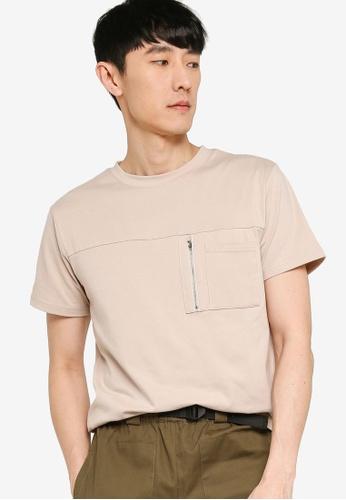 ZALORA BASICS grey Zipper Pocket Utility T-Shirt 435BAAAC0E2AFCGS_1