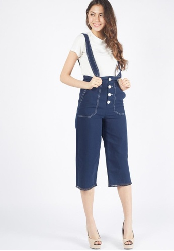 Moss Fashion navy Alvina Overall Pants in Navy 37ED2AA91CB7F3GS_1
