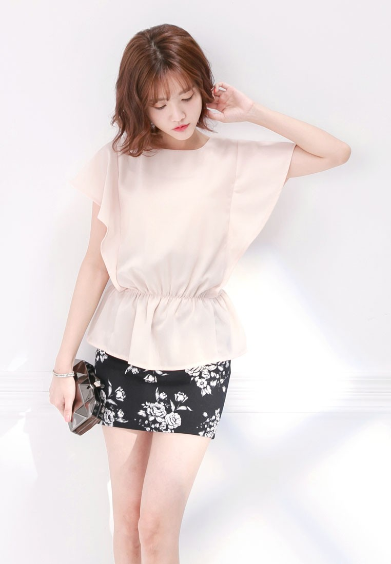 Top with Gathered Waist and Flutter Sleeves