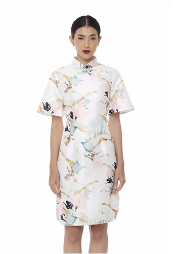 Mandarin Peony Cheongsam white and blue Mandarin Peony GAN Cheongsam Dress 852D3AA509DB18GS_1