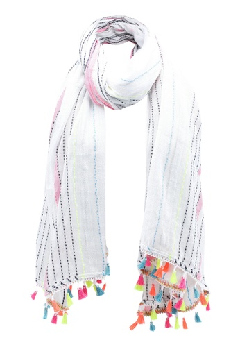 River Island white Stripe Tassle White Scarf 51281AC73DF189GS_1