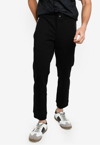 ck Calvin Klein black COMPACT JOGGERS WITH RUBBER LOGO 9E0E8AA0B3794AGS_1