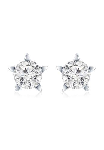 Mabelle Silver 18k 750 White Gold Single Diamond Earrings F50f2ac447bdcdgs 1