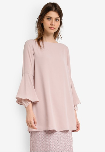 Zalia pink Lace Cuff Flare Sleeve Tunic 1953CAAA30ED79GS_1