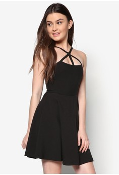 Love Cross Front Strap Fit& Flare Dress
