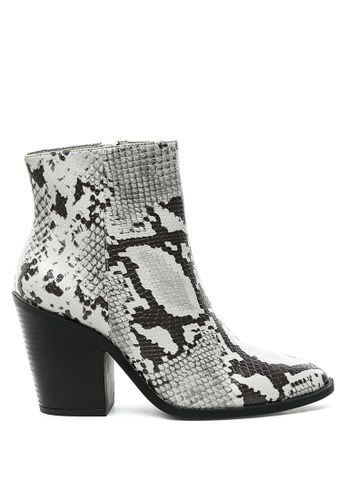 London Rag grey Snake Print Block Heel Ankle Boot 5AB83SH5681AD3GS_1