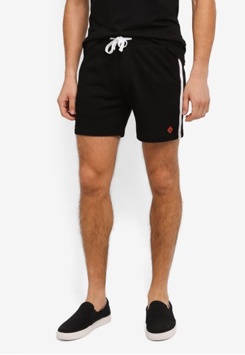 JAXON black Terry Easy Shorts With Side Trim ADF92AA47578BDGS_1