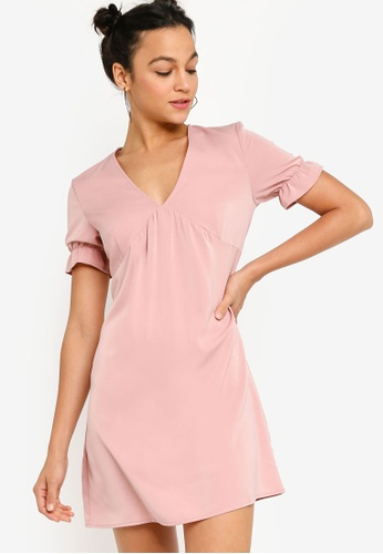 Something Borrowed pink Front Tie Babydoll Mini Dress 45670AAC1E4FE4GS_1