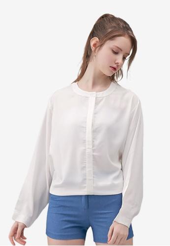 Kodz white Mandarin Minimal Blouse 89E56AA606E07AGS_1