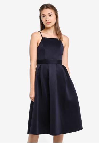 ZALORA navy Bridesmaid Cut-In Pleated Midi Dress EE688AA6765785GS_1