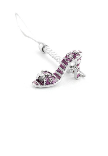 Glamorousky purple White Strap with Purple High-heeled Shoe Charm by Purple Austrian Element Crystals CCD3CACC7CCD1DGS_1