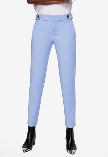Mango blue Cropped Button Pants B846FAA3353473GS_1