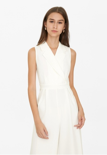 Pomelo white Collared Front Pleated Jumpsuit - White 45863AA5DCAABEGS_1