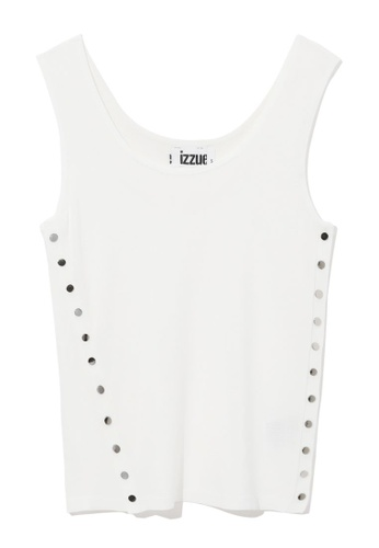 izzue white Snap button knit tank top 2B62EAA5A89AB6GS_1