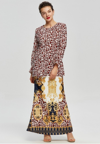 Leopard and Baroque Scarf Prints Kurung from Era Maya in Red
