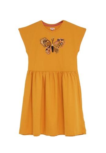 DU PAREIL AU MÊME (DPAM) yellow Butterfly Flare Dress 73DB5KA9F97619GS_1