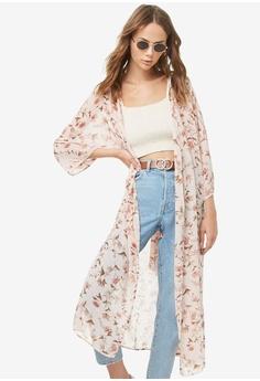 8e7740a56fe FOREVER 21 pink Semi Sheer Floral Kimono Cardigan 2CDE7AAE58F949GS 1