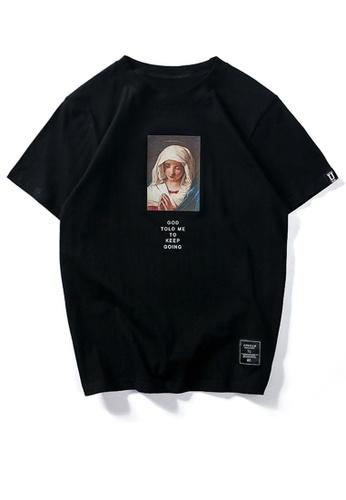HAPPY FRIDAYS Virgin Mary Printed Short Sleeve T-shirt UP701 B0013AA75F3765GS_1