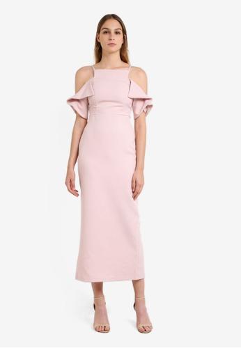 River Island pink Frill Sleeve Bodycon Maxi Dress RI009AA0RRWUMY_1