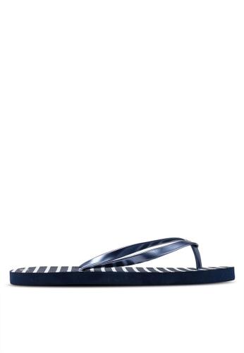 OVS 藍色 橡膠 拖鞋 With 條紋 512C7SH54065E5GS_1