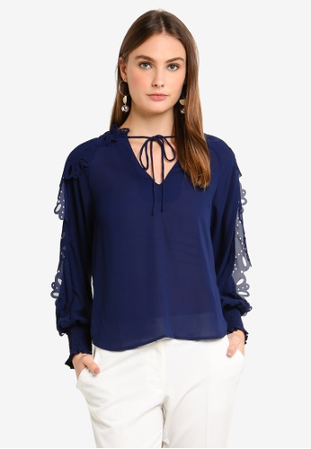 bYSI blue Laser Cut Detailed Blouse 012E5AAC391E4BGS_1