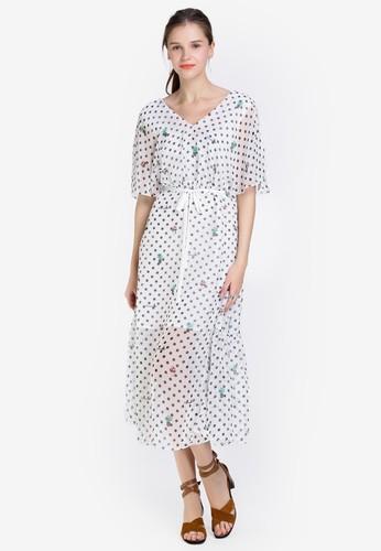 Hopeshow white Spotted V-Neck Dress with Tie Belt F2468AAE74708BGS_1