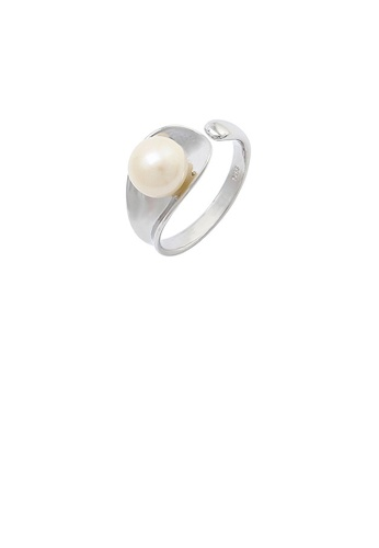 Glamorousky white 925 Sterling Silver Fashion Simple Geometric Freshwater Pearl Adjustable Ring 9BA58AC61510A3GS_1