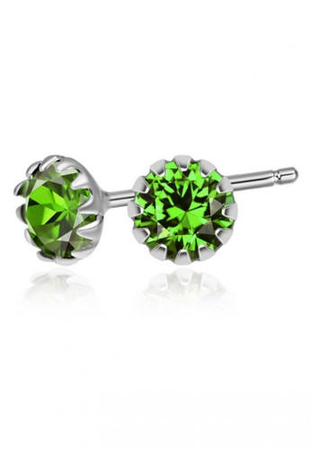SC Tom Silver silver Crystal Round Birthstone Stud Earrings SC872AC0J65DPH_1